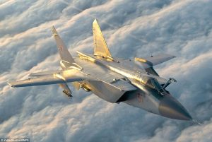 A shoot-out in the skies - which would have had devastating ramifactions at a time of escalated tensions between the Cold War superpowers - was only narrowly avoided (MiG-31 pictured)