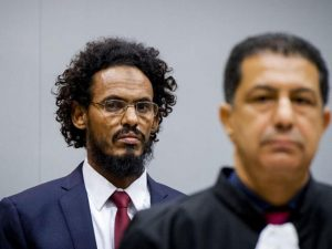 """The International Criminal Court has found a jihadist militant guilty of a war crime for the desecration of holy shrines in Timbuktu, in the first case of its kind. Ahmad al-Faqi al-Mahdi was jailed for nine years after he admitted the damage during a two-day trial in August, asking for forgiveness and saying he was swept up in an """"evil wave"""" by al-Qaeda and other Islamist groups. The case marks a collection of firsts for the ICC: the first time it has prosecuted an individual over cultural destruction; the first time a radical Islamist militant has appeared before the court, and the first time a defendant has pleaded guilty."""
