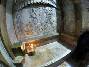 The tomb where Jesus's body is believed to have been laid, inside the Edicule in the Church of the Holy Sepulchre, Jerusalem Getty